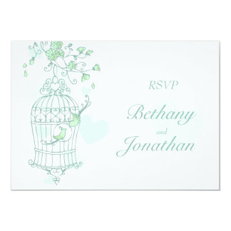 Mint green birds open cage wedding RSVP 13 Cm X 18 Cm Invitation Card