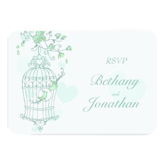 Mint green birds open cage wedding RSVP 9 Cm X 13 Cm Invitation Card