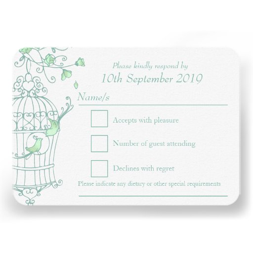 Mint green birds open cage wedding RSVP Personalized Announcement