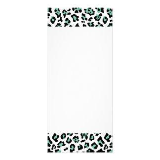 Mint Green Black Leopard Animal Print Pattern Full Color Rack Card