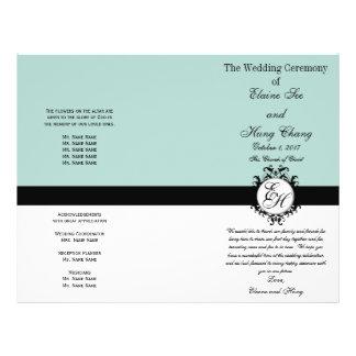 Mint Green Black Wedding Program Chic Monogrammed 21.5 Cm X 28 Cm Flyer