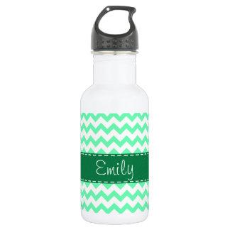 Mint Green Chevron 532 Ml Water Bottle