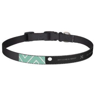 Mint Green Chevron Pattern | Black Monogram Pet Collars