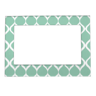 Mint Green Geometric Ikat Tribal Print Pattern Magnetic Frame