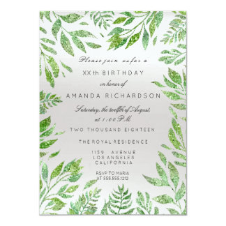 Mint Green Glitter Leafs Floral Frame Gray Silver Card