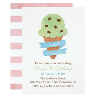 Mint Green Ice Cream Cone Kids Birthday Party Card