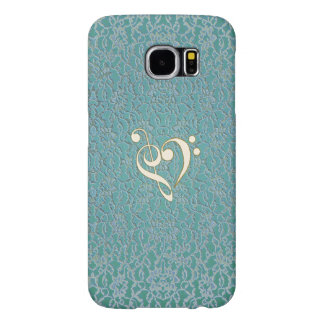 Mint Green Lace Music Clef Heart Galaxy S6 Case