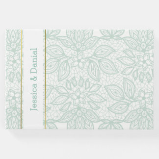 Mint Green Lacy Wedding Guest Book
