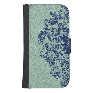 Mint-Green Linen Texture Blue Floral Lace Samsung S4 Wallet Case