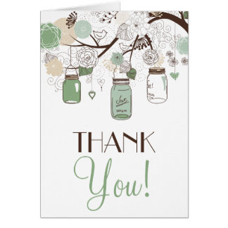 Mint Green Mason Jars Thank You Card