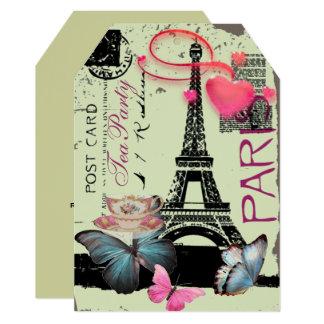 Mint Green Paris eiffel tower vintage tea party Card