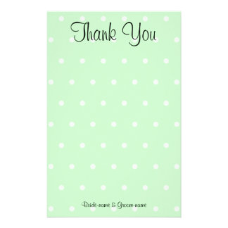 Mint Green Polka Dot Pattern. Wedding Thank You Stationery