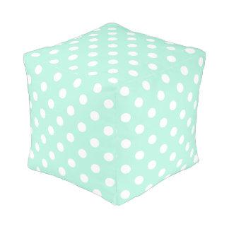 Mint green polka dots pouf