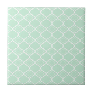 Mint Green Quatrefoil Geometric Pattern Small Square Tile