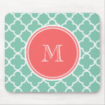 Mint Green Quatrefoil Pattern, Coral Monogram Mouse Pad