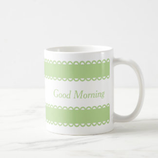 Mint Green Ribbons on White Personalized Coffee Mug