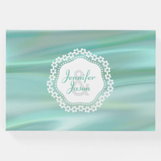 Mint Green Satin Look Wedding Guest Book