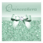 Mint Green Sequins, Bow & Diamond Quinceanera Personalised Announcement