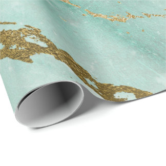 Mint Green Tiffany Aqua Gold Marble Shiny Glam Wrapping Paper