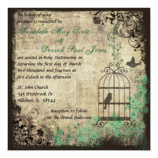 Mint Green Vintage Bird Cage Wedding Invitation