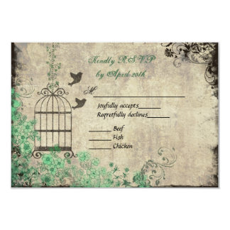 Mint Green Vintage Bird Cage Wedding R.S.V.P. Card 9 Cm X 13 Cm Invitation Card