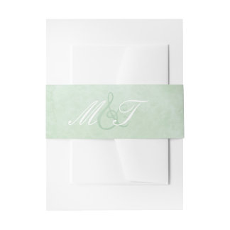 Mint Green Watercolor Band Invitation Belly Band