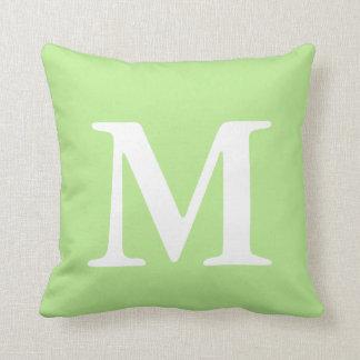 Mint Green White Monogrammed MThrow Pillow