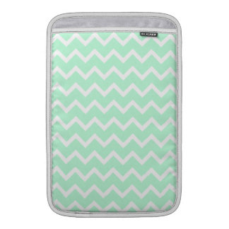 Mint Green Zigzag Chevron Stripes. Sleeve For MacBook Air