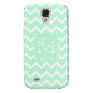 Mint Green Zigzag with Custom Monogram. Galaxy S4 Case