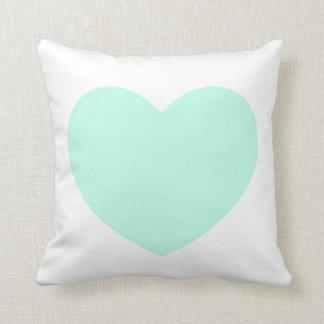 Mint Heart Pillow Throw Cushions