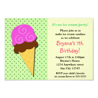 Mint Ice Cream Social Birthday Party Inviations 9 Cm X 13 Cm Invitation Card