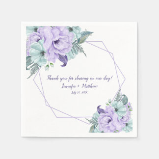 Mint Lavender Purple Watercolor Peonies Reception Disposable Serviette
