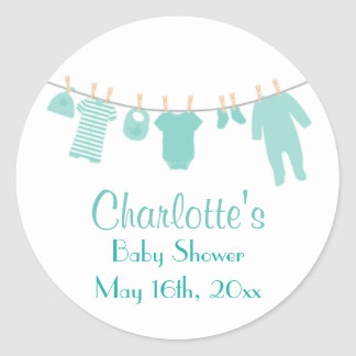 Mint Little Clothes Baby Shower Stickers