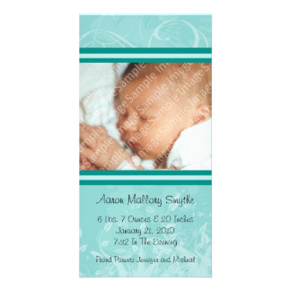 Mint Mod Style New Baby Photo Card