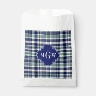 Mint Navy White Preppy Madras Quatrefoil Monogram Favour Bags