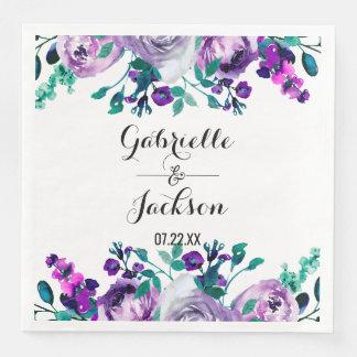 Mint & Purple Floral Watercolor Wedding Monogram Paper Serviettes