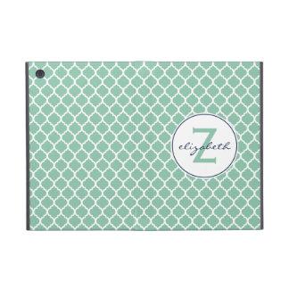 Mint Quatrefoil Monogram iPad Mini Case