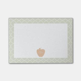 Mint Quatrefoil & Peach Apple Teacher Post-it Notes