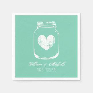 Mint rustic country chic mason jar wedding napkins disposable serviette