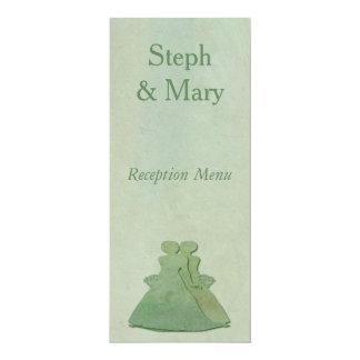 Mint Rustic Lesbian Bride Wedding Reception Menu Card
