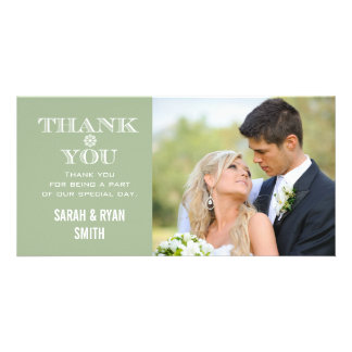 Mint Snowflake Wedding Photo Thank You Cards