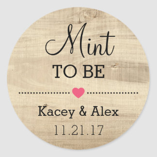 Mint To Be Stickers Rustic Wood Wedding Favours