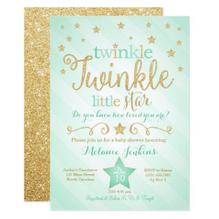 Baby shower invitations zazzle mint twinkle little star baby shower invitation filmwisefo