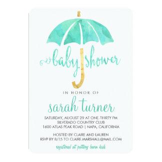 Mint Umbrella Neutral Baby Shower Invitations