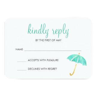 Mint Umbrella Neutral Baby Shower RSVP Response Card