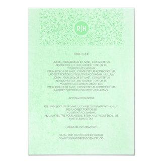 Mint Vintage Floral Monogram Wedding Details Card