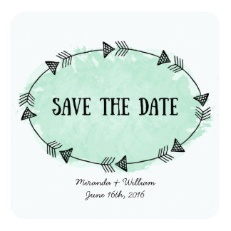 Mint Watercolor Arrows Save The Date Cards