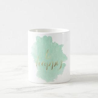 Mint Watercolor Gold Be Happy Coffee Mug