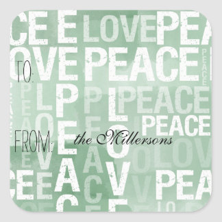 Mint Watercolor Ombre Love Peace Gift Tag Stickers