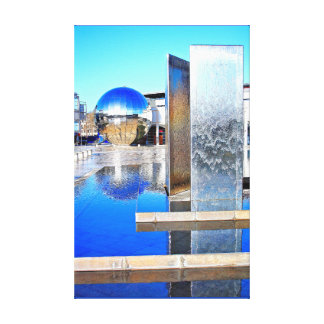 Mirror Ball and Water feature in Millennium Square Canvas Print